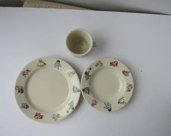 Homer Laughlin Nicole Miller for Fishs Eddy Child\u0027s Set Bowl Plate and Mug 2136 & Fishs eddy | Etsy