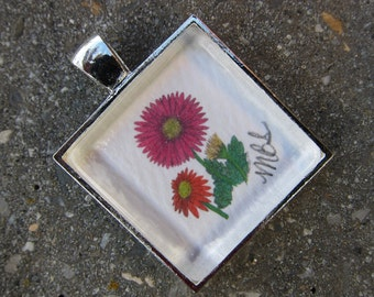 """Gerbera Daisy Glass Pendant  With Pen and Ink and Colored Pencil Illustration - """"Gerbera Joy"""""""