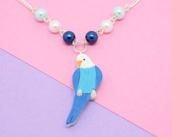 Budgie Necklace Blue/White // Polymer Clay, Budgerigar, Parakeet, Bird Jewellery, Bird Necklace, Animal Necklace, Gifts for Bird Lovers