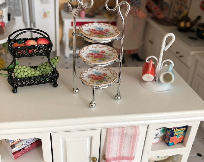 Featured listing image: Miniature 3 Tier Stand, Silver Stand With Porcelain Rose Dishes, Dessert Stand by Reutter Porcelain, Dollhouse Miniature, 1:12 Scale