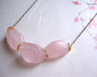 Rose quartz faceted stone long necklace