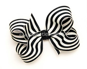 Black and White Striped Hair Bow, 3 inch Boutique Bow Chic Paris Classic Black Stripes Preppy Back To School Uniform