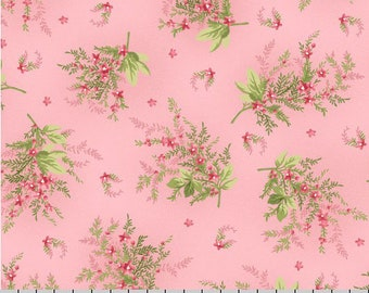 Pink Floral Fabric, Cottage Chic Floral Quilt Fabric, Maywood Studio Heather MAS 8393  P Jennifer Bosworth, Pink Floral Cotton Yardage