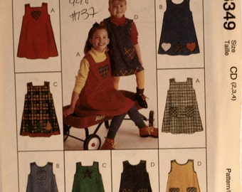 Girl's Dress- Girls Jumper - Sewing Pattern - McCall's 8349 - New - Uncut - Size 2 - 3 - 4