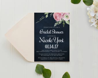 Bridal Shower Invitation, Printed Invitation with Envelope, Blush Pink Watercolor Flower, Pink Peony Bridal Shower