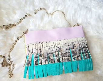 Pink turquoise leather fringe crossbody purse summer clutch on chain