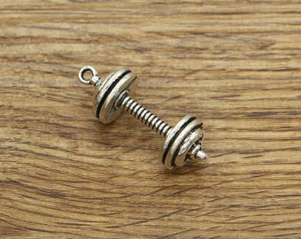 10pcs Barbell Charms 3D WeightLifting Charms Gym Charm Antique Silver Tone 13x36mm CF1276
