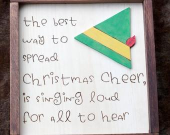 Elf Christmas Cheer Wood Decor Sign