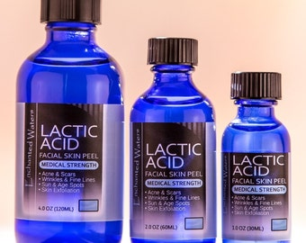 LACTIC ACID Skin Peel - For: Acne, Wrinkles, Melasma, Age Spots - Choose your Size (1, 2, 4oz) and Strength (25, 40, 50, 90% Strengths)