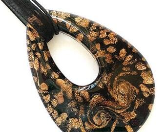 Black Gold Foil Teardrop Lampwork Glass Bead Pendant Ribbon Cord Necklace