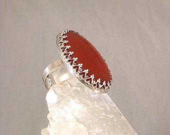 Handmade Sterling Carnelian Ring adjustable size, large gemstone red agate, ooak