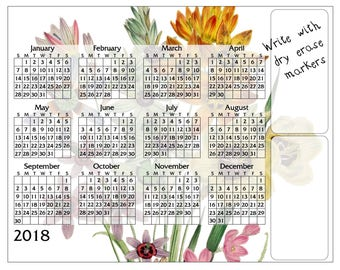 """Dry Erase Message Board - 2018 Calendar - Bouquet - 8"""" x 10"""" and 11"""" x 14"""" Sizes"""