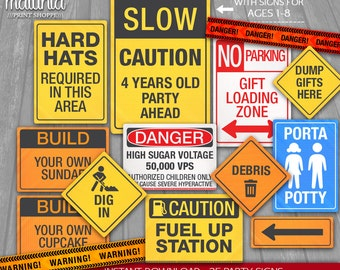 construction party signs instant download 35 construction signs party decorations little worker party caution danger road signs