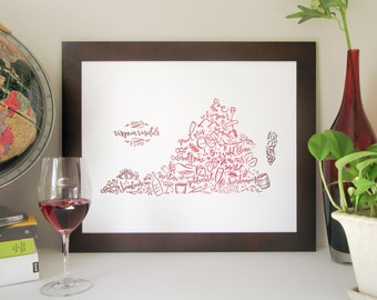 Virginia Wine Map Letterpress Poster – Red Wine Color