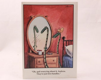 Vintage 1984 Gary Larson Far Side Greeting Card and Envelope. Snake