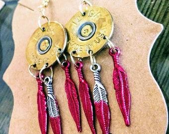 Bullet Earrings 12ga Feathered