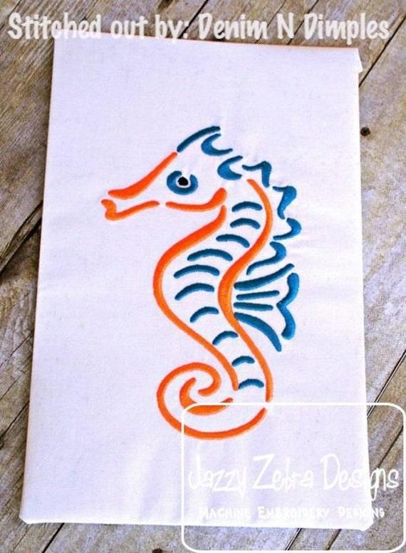 Sea Horse Satin Stitch Embroidery Design - sea horse Embroidery Design - beach Embroidery Design - sea Embroidery Design