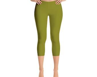 Capris Olive Green Leggings, Stretch Pants for Women, Mid Rise Waist Yoga Pants