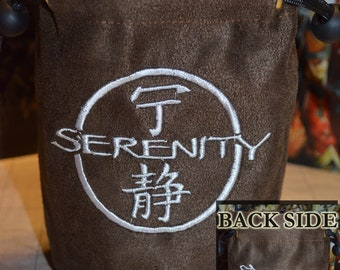 Dice Bag Firefly ship and Serenity logo double Embroidered Suede