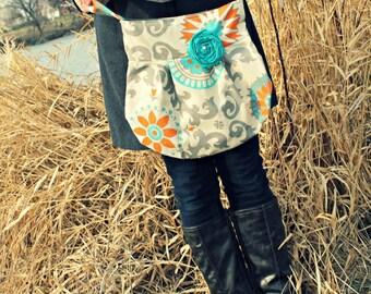 Bohemian Bag, Crossbody Grey Teal, Bohemain Purse, Medalion Teal Handbag, Cute Handbag, Popular Style Purse, Grey Natural Orange and Teal