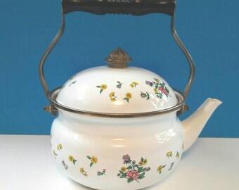 Vintage Enamel Teapot, Retro Floral Teapot, Enamel Teapot, Flower, Vintage, White Vintage Enamel Teapot With Flowers.