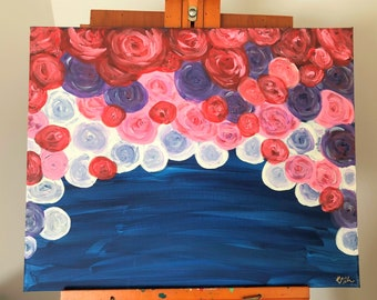 Roses: Original 16x20 acrylic fine art painting. Fine art floral painting.
