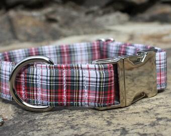 Red Plaid Dog Collar, Dog Collar, Male Dog Collar, Large Dog Collar, Small Dog Collar, Fabric Dog Collar, Holiday, Christmas Dog Collar