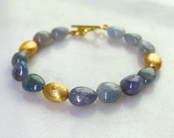 Polished Natural Cornflower Blue Sapphire Bracelet in Gold Vermeil...