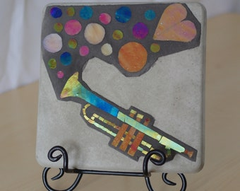 Glass Mosaic - Blow your trumpet, Mosaic Wall Hanging