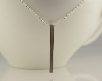 Long barNecklace. Sterling silver long necklace. Modern necklace. Simple necklace. Layering necklace