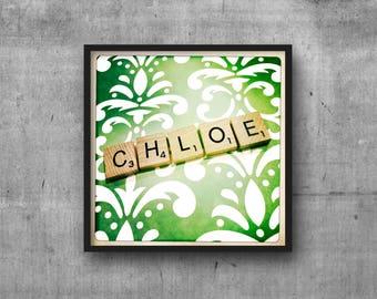 CHLOE - Name Art - Scrabble Tile Name - Art Photo - Photography Art Print - Name Sign