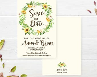 Cheap save the date etsy cream sunflower rustic printable save the dates for weddings filmwisefo