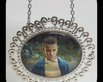 Stranger Things TV Show Glass Cabochon Silver Necklace Eleven Millie Brown Handmade NEW
