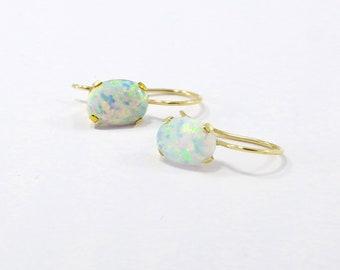14k White Opal Earrings, Opal Drop Earrings, 14k Gold Earrings, October Birthstone, Solid Gold Earrings, White Opal Jewelry, Gold Jewelry
