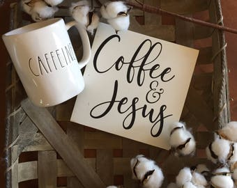 Coffee Sign, Coffee decor, Coffee bar sign, Coffee and Jesus sign, coffee bar decor, kitchen decor, farmhouse kitchen sign, wood signs