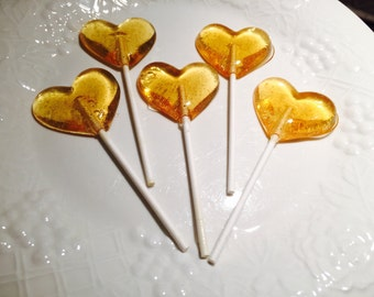 Honey Heart Lollipops 12, Made With 100% Local Honey, Valentines, Wedding Favors, Baby Shower Favors, Heart Favors,