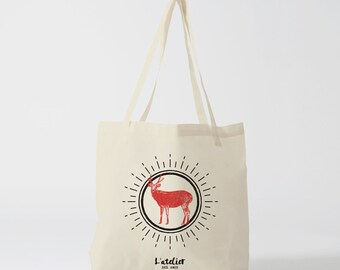 Tote bag deer, bag, shopping bag, shopping bag, current bag, cotton bag, tote bag, beach bag, bag and baggage, changing bag bags