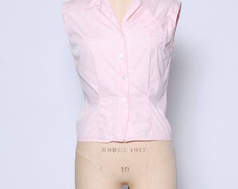 Vintage 50s pink blouse / sleeveless button down / cotton blouse / 1950s cotton top