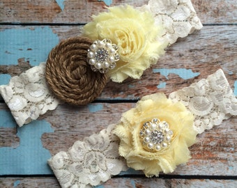 LEMON  & Burlap garter /wedding garter / bridal  garter /  garter / barn rustic wedding garter / vintage inspired lace garter