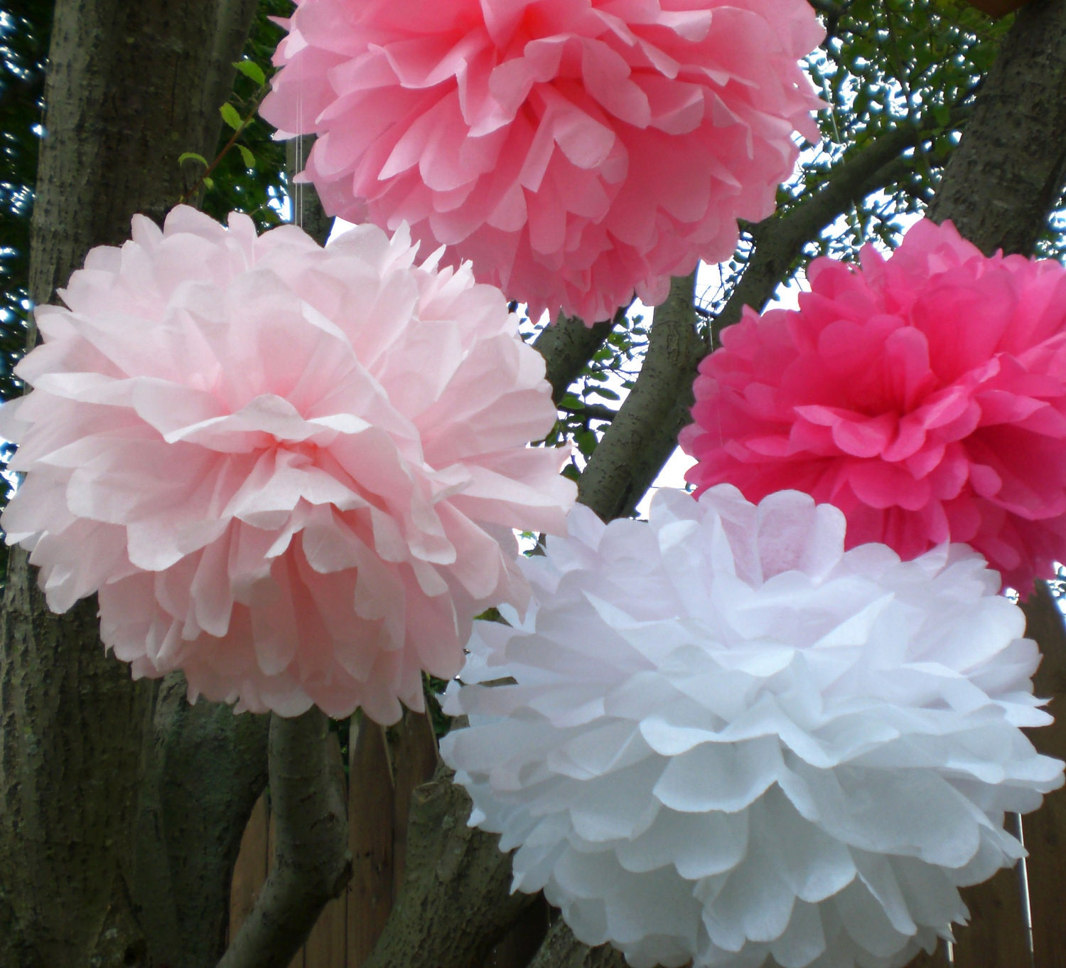 8 Hanging Tissue Paper Pom Poms Baby Shower Decoration