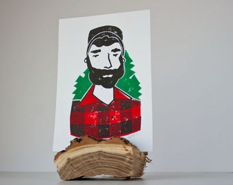 Small Lumberjack with Trees - Linocut Print Wall Decor