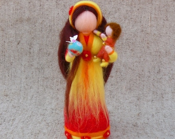 Fairy doll Mom with baby,  Gift for mom, Waldorf doll, Needle felted doll, Felted wool fairy, Standing doll,
