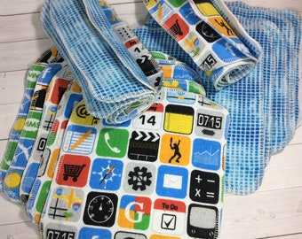 Hi Tech App -Flannel Wipes - Cloth diaper wipes - Reusable baby wipes- Family Cloth