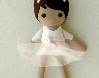 Reserved for Lindsay - Fabric Doll Rag Doll 20 Inch Brown Haired Girl in Pink Ballet Outfit