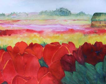 Tulips Original Watercolor WatercolorArt Tulip Farm Skagit Valley Washington Print Giclee' Print Fine Art Gift Ideas Carol Lytle #51