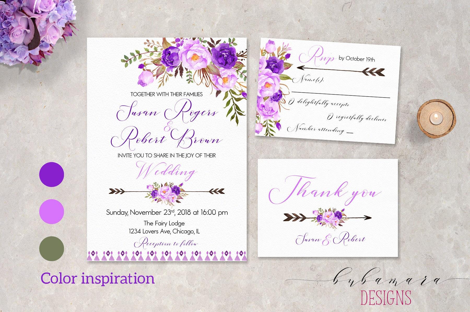 Purple Wedding Invitation Suite Floral Lilac Boho Lavender