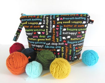 Knitting Bag, zipper Crochet Bag, Medium shawl sweater knitting project bag, Knit Therapy Christmas gift for Mom