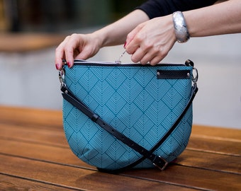 blue messenger bag, crossbody bag, waterproof messenger, everyday bag, turquoise canvas bag, waterproof jacquard, black leather, small bag