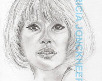 Mireille Darc - wore pencil and charcoal.