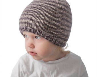 Easy Striped Baby Hat KNITTING PATTERN /Striped Hat Pattern / Easy Beanie Pattern / Beginner Knitting / Hat Knitting Pattern / Easy Baby Hat